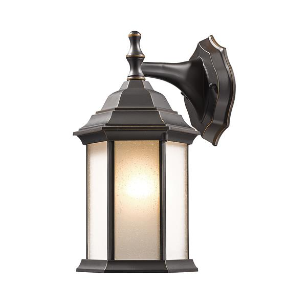 Z-Lite Waterdown 12-in Oil Rubbed Bronze Seeded Hexagon Outdoor Wall Sconce