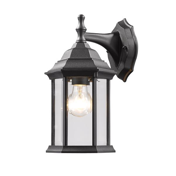 Z-Lite Waterdown 11.75-in Black Beveled Hexagon Outdoor Wall Sconce