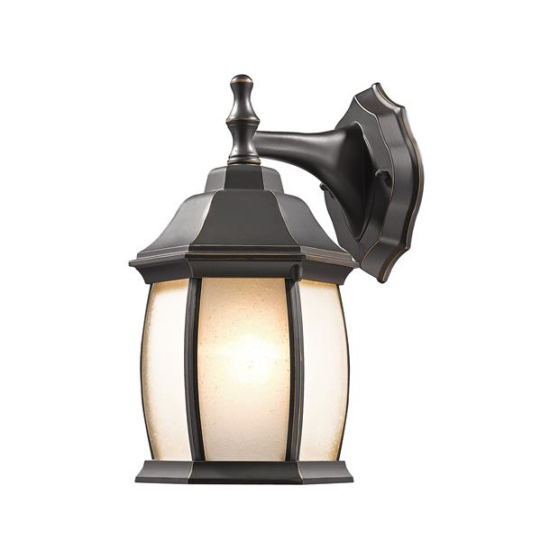 Z-Lite Waterdown 11.75-in Oil Rubbed Bronze Seeded Outdoor Wall Sconce
