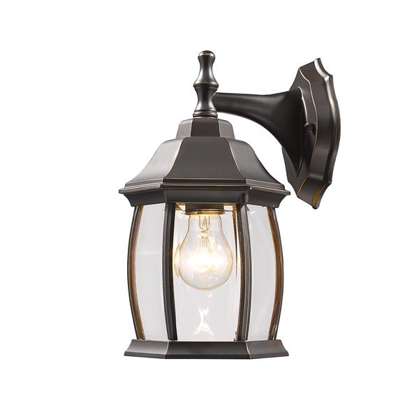 Z-Lite Waterdown 11.75-in Oil Rubbed Bronze Beveled Outdoor Wall Sconce