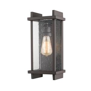Z-Lite Fallow 13-in Bronze Seeded Glass 1-Light Outdoor Wall Sconce
