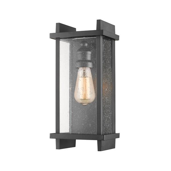 Z-Lite Fallow 13-in Black Seeded Glass 1-Light Outdoor Wall Sconce