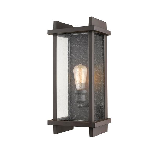 Z-Lite Fallow 17.38-in Bronze Seeded Glass 1-Light Outdoor Wall Sconce