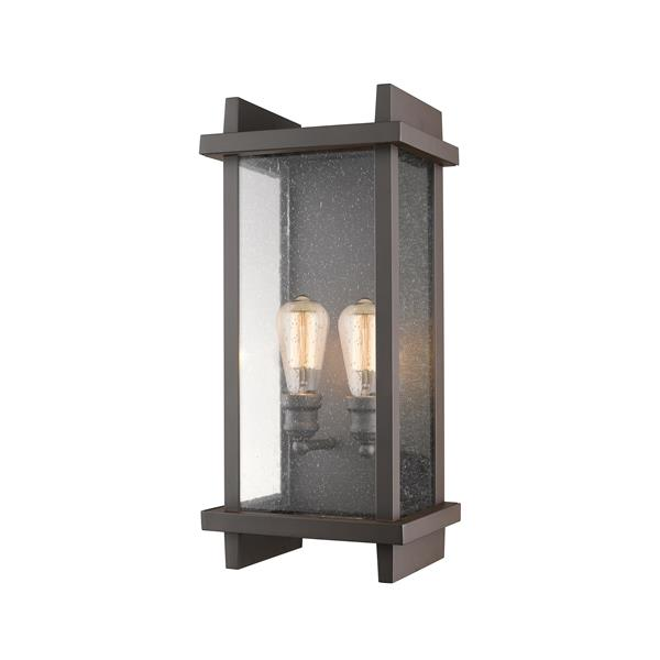 Z-Lite Fallow 21.63-in Bronze Seeded Glass 2-Light Outdoor Wall Sconce