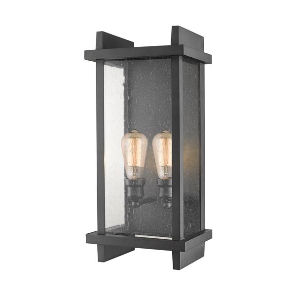 Z-Lite Fallow 21.63-in Black Seeded Glass 2-Light Outdoor Wall Sconce