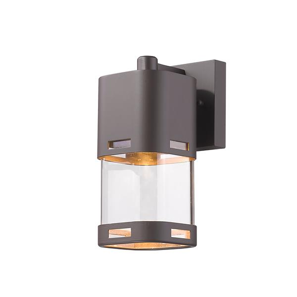 Z-Lite Lestat 9.25-in Bronze Clear Glass LED Outdoor Wall Sconce