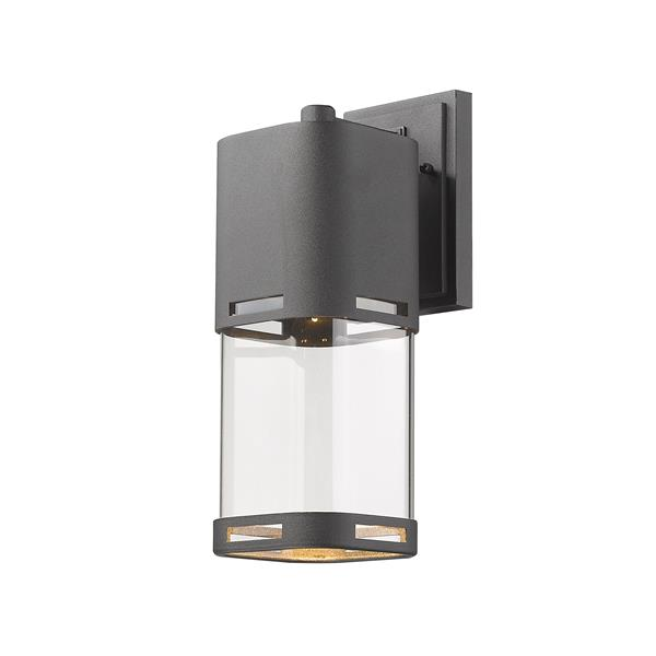 Z-Lite Lestat 13.87-in Black Clear Glass LED Outdoor Wall Sconce
