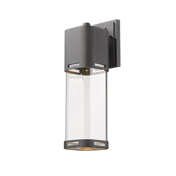 Z-Lite Lestat 17.62-in Black Clear Glass LED Outdoor Wall Sconce