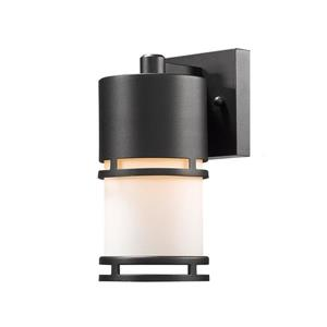 Z-Lite Luminata 8.88-in Black White Glass LED Outdoor Wall Sconce