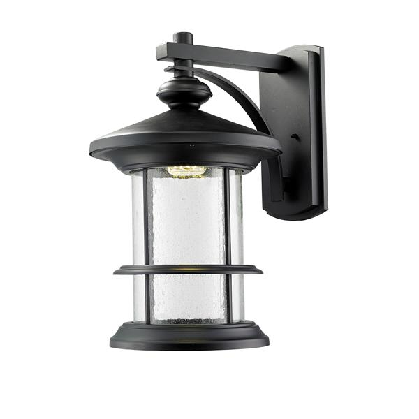 Z-Lite Genesis 22-in Black Clear Glass Downward Mount Outdoor LED Wall Light