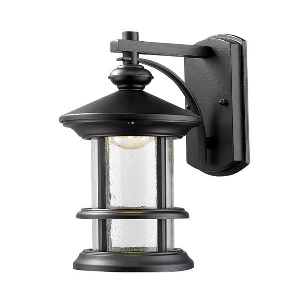 Z-Lite Genesis 10.12-in Black Clear Glass Outdoor LED Wall Light