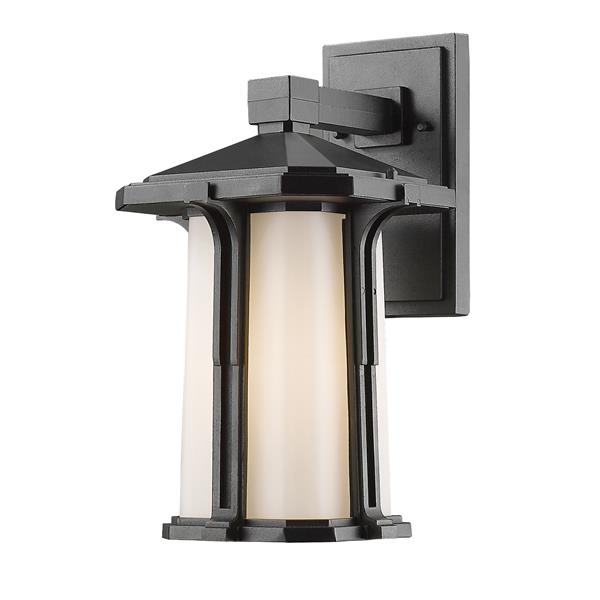Z-Lite Harbor Lane 14-in Black White Glass 1-Light Outdoor Wall Light