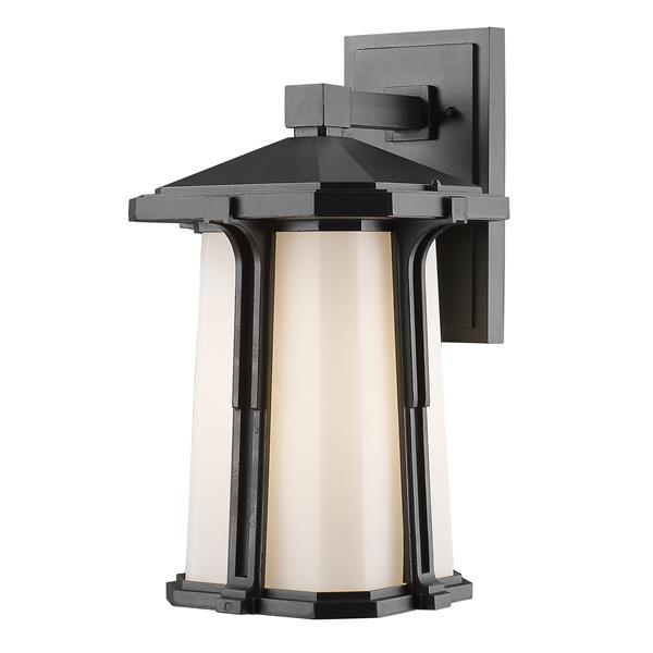 Z-Lite Harbor Lane 16.25-in Black White Glass 1-Light Outdoor Wall Light