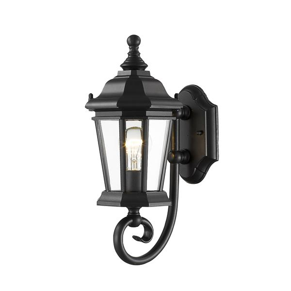 Z-Lite Melbourne 15.75-in x 10.25-in Black Outdoor Wall Light