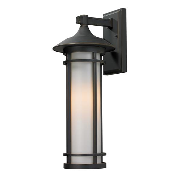 Z-Lite Woodland 20.25-in Medium Oil Rubbed Bronze Cylinder Outdoor Wall Sconce