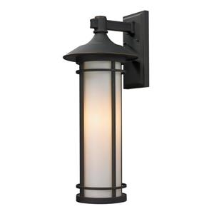 Z-Lite Woodland 25.5-in Large Oil Rubbed Bronze Cylinder Outdoor Wall Sconce