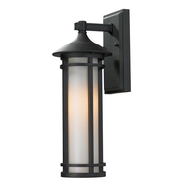 Z-Lite Woodland 16.62-in Small Black Cylinder Outdoor Wall Sconce