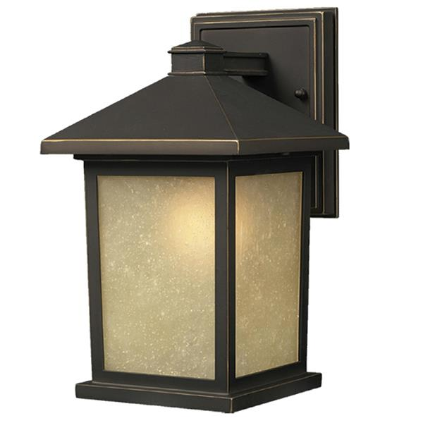Z-Lite Holbrook 15.75-in Oil Rubbed Bronze Frosted Glass Outdoor Wall Sconce