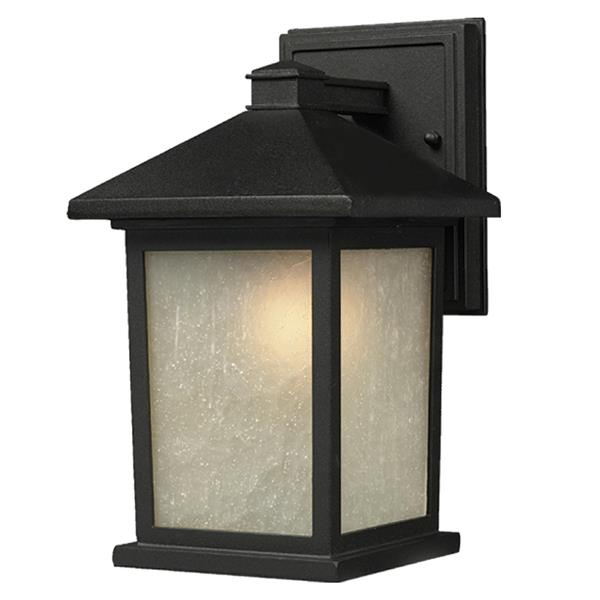 Z-Lite Holbrook 15.75-in Black White Glass Outdoor Wall Sconce