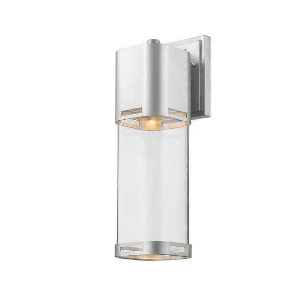 Z-Lite Lestat 17.62-in Brushed Aluminum Clear Glass LED Outdoor Wall Sconce