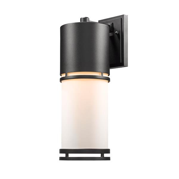 Z-Lite Luminata 17.63-in Black White Glass LED Outdoor Wall Sconce