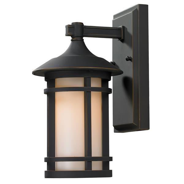 Z-Lite Woodland 11.38-in Small Oil Rubbed Bronze Outdoor Wall Sconce