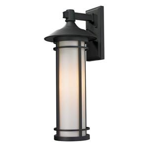 Z-Lite Woodland 25.5-in Large Black Cylinder Outdoor Wall Sconce