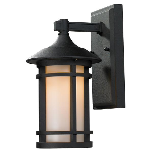 Z-Lite Woodland 11.37-in Small Black Outdoor Wall Sconce