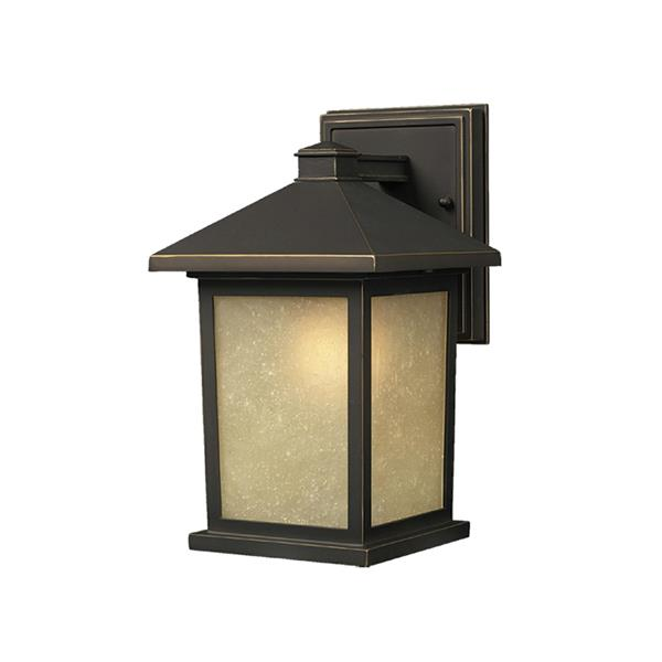Z-Lite Holbrook 10.5-in Oil Rubbed Bronze Frosted Glass Outdoor Wall Sconce