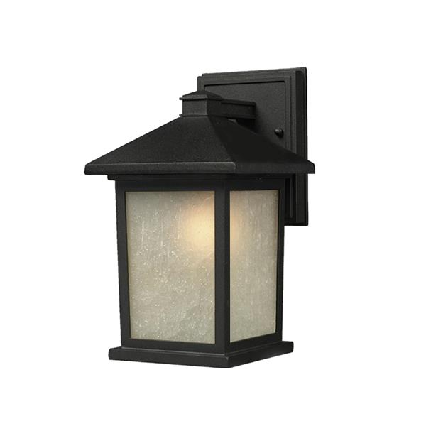 Z-Lite Holbrook 10.5-in Black White Glass Outdoor Wall Sconce