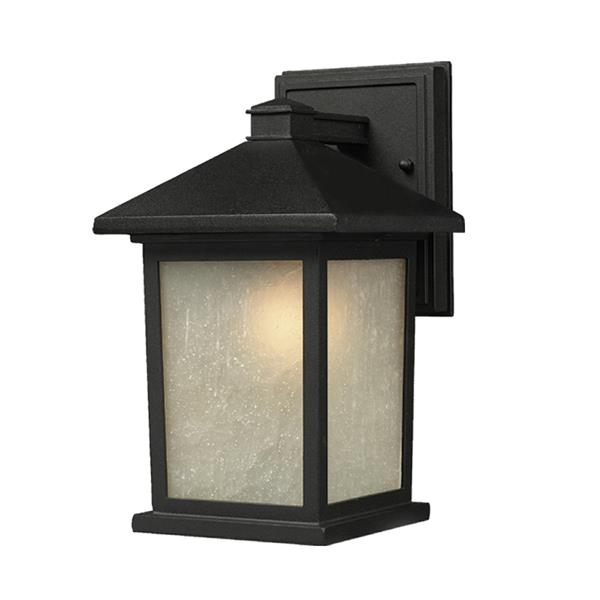 Z-Lite Holbrook 14-in Black White Glass Outdoor Wall Sconce