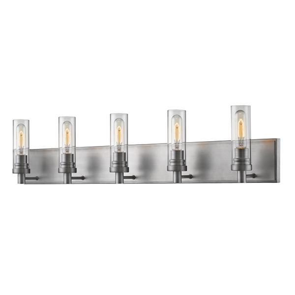 Z-Lite Persis 4.75-in x 8.13-in 5-Light Old Silver Vanity Light