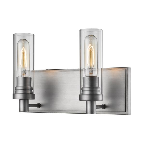 Z-Lite Persis 4.75-in x 8.13-in 2-Light Old Silver Vanity Light