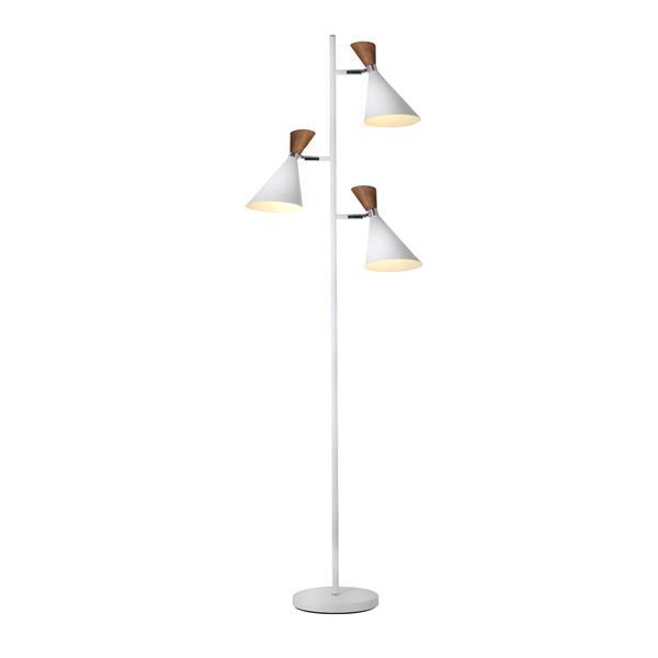 Lumirama Melania 65-in White and Walnut Floor Lamp