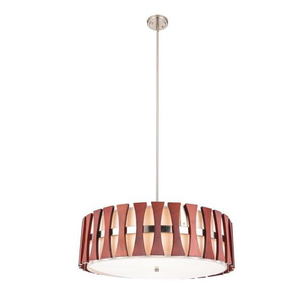 Lumirama Puccini Pendant Light - Nickel And Wood - 24""