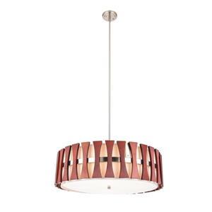 Lumirama Puccini Nickel And Wood Pendant Light
