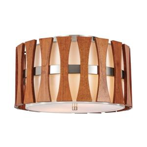 PUCCINI Nickel and Wood 2-Light Flush Mount