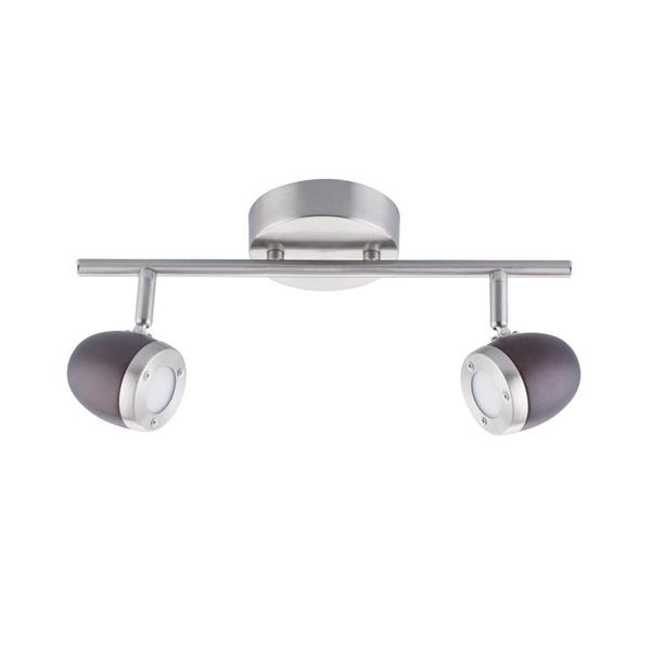 Lumirama BREKDELL 2-Light Satin Nickel amd Wood Track Light