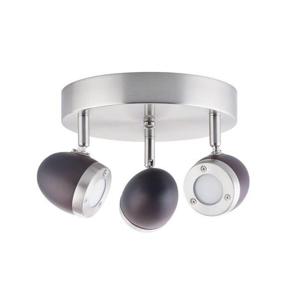 Lumirama Brekdell Satin Nickel and Dark Wood Ceiling Light
