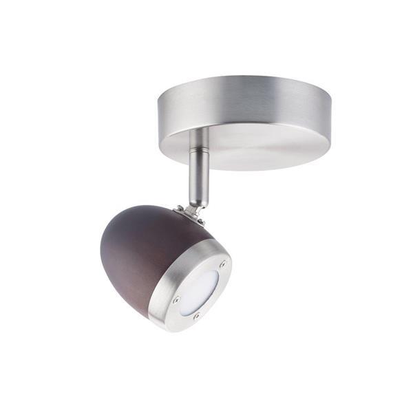 Lumirama BREKDELL Brushed Nickel and Wood Ceiling Light