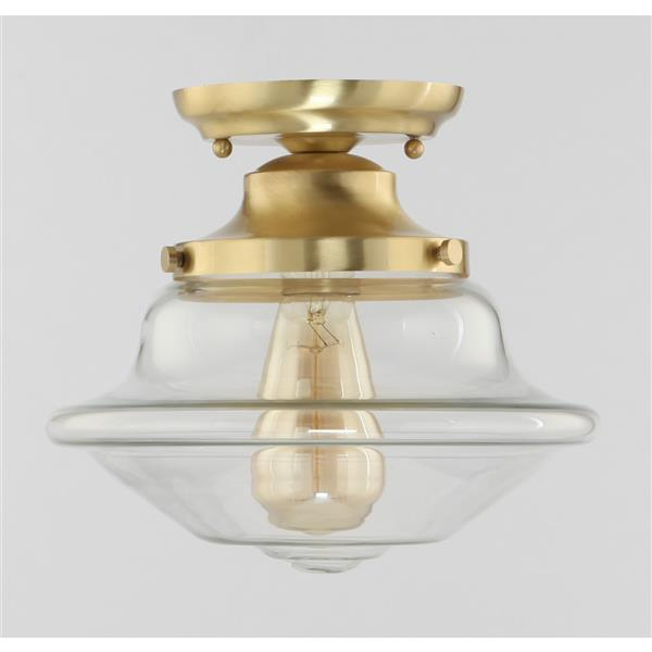 Lumirama DE BURGH 10-in Brushed Gold and Glass Flush Mount Light