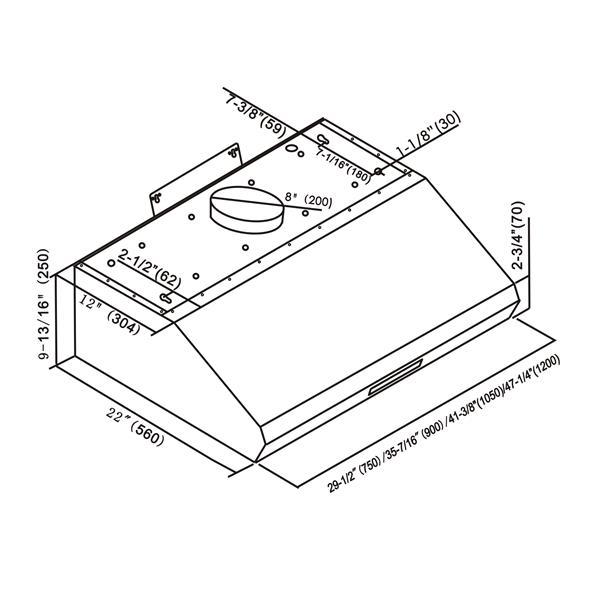 Hotte sous-armoire, Maxair, 700 pcm, acier inoxydable, 36''