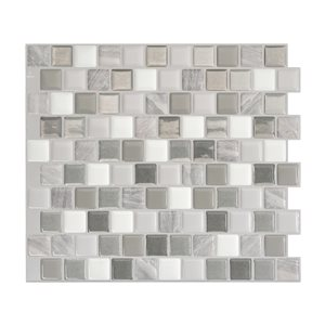 Smart Tiles Bixia Casoria 10-in x 10-in Gray Self-Adhesive Mosaic Wall Tile