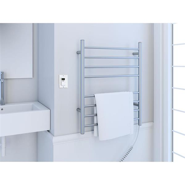 Ancona Prestige Brushed Stainless Steel 8-Bar Dual Towel Warmer with Timer