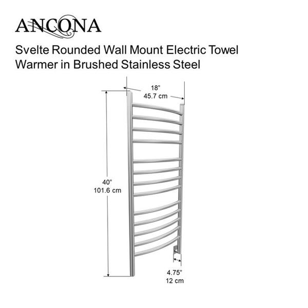 Ancona Svelte Brushed Stainless Steel 13-Bar Rounded Towel Warmer with Timer