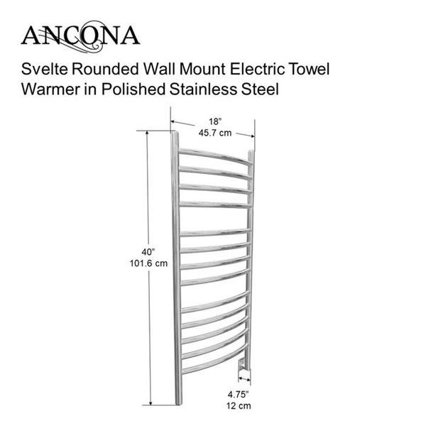 Ancona Svelte Polished Stainless Steel 13-Bar Rounded Towel Warmer with Timer