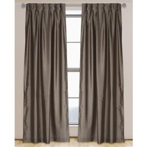 LJ Home Fashions 95-in Cappuccino Brown Faux Silk Pinch Pleat Hidden Tab Lined Curtains
