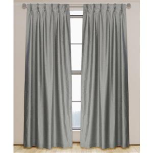 LJ Home Fashions 95-in Slate Grey Faux Silk Pinch Pleat Hidden Tab Lined Curtains