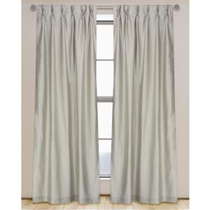 LJ Home Fashions 95-in Clay Grey Faux Silk Pinch Pleat Hidden Tab Lined Curtains