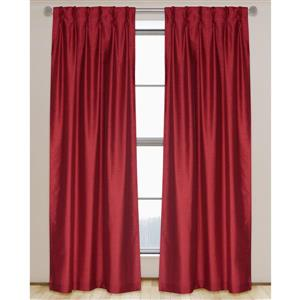LJ Home Fashions 95-in Red Faux Silk Pinch Pleat Hidden Tab Lined Curtains